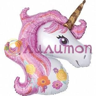 Фольгированный шар 'Единорог розовый'