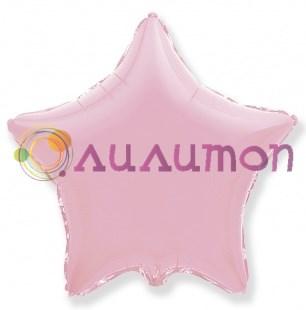 Фольгированный шар 'Большая розовая звезда пастель' 65см