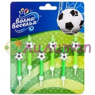 Свечи Футбольный мяч, 6 см, 6 шт.