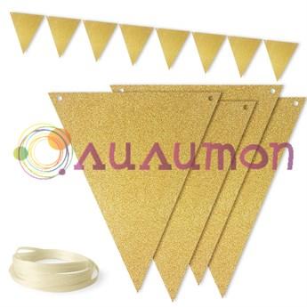 Гирлянда Флажки, Золото, 300 см - фото 10103