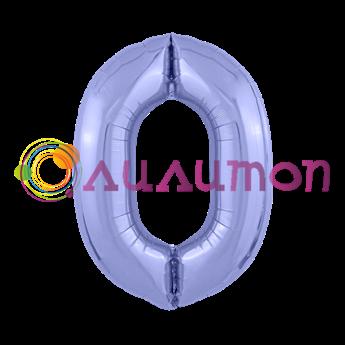 Фольгированный шар 'Цифра 0' Пастельный фиолетовый