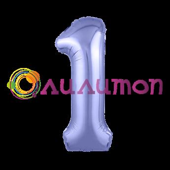 Фольгированный шар 'Цифра 1' Пастельный фиолетовый