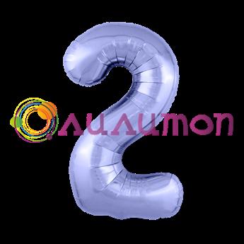 Фольгированный шар 'Цифра 2' Пастельный фиолетовый