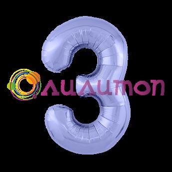 Фольгированный шар 'Цифра 3' Пастельный фиолетовый