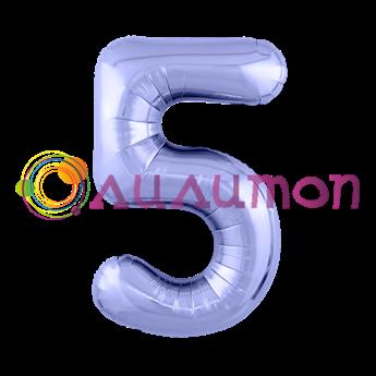 Фольгированный шар 'Цифра 5' Пастельный фиолетовый