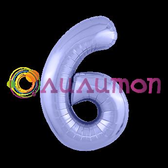 Фольгированный шар 'Цифра 6' Пастельный фиолетовый