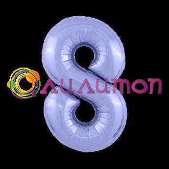 Фольгированный шар 'Цифра 8' Пастельный фиолетовый