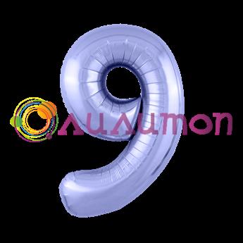 Фольгированный шар 'Цифра 9' Пастельный фиолетовый
