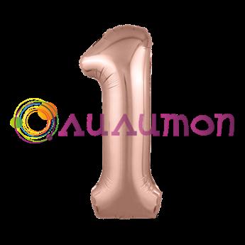 Фольгированный шар 'Цифра 1' Розовое золото