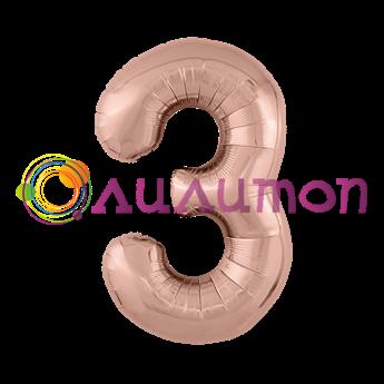 Фольгированный шар 'Цифра 3' Розовое золото