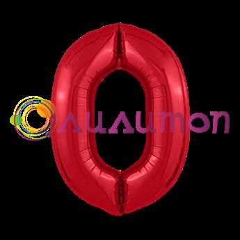 Фольгированный шар 'Цифра 0' красная