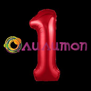 Фольгированный шар 'Цифра 1' красная
