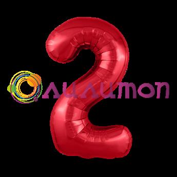 Фольгированный шар 'Цифра 2' красная