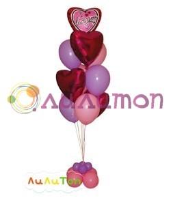 Букет из воздушных шаров 'Сердца любви'