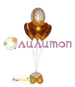 Букет из воздушных шаров 'Фольгированные сердечки'