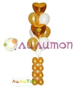 Букет из воздушных шаров 'Золотые сердца на гирлянде'
