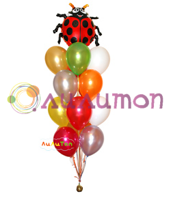 """Букет из воздушных шаров """"Божья коровка"""" - фото 4090"""