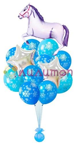 Букет из воздушных шаров 'Новогодний с лошадкой'