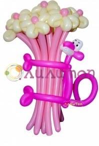 Цветы из шаров 'Розовая пантера'