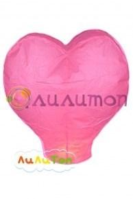 Небесный фонарик 'Большое розовое сердце'