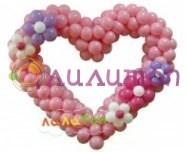 Сердце из шаров с цветами - фото 4787