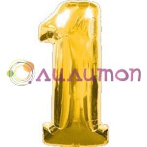 Фольгированный шар 'Цифра 1' золотая