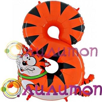 """Фольгированный шар """"Цифра-зоопарк 8"""" - фото 4893"""