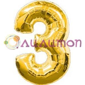 Фольгированный шар 'Цифра 3' золотая