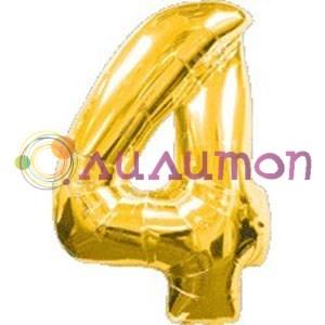 """Фольгированный шар """"Цифра 4"""" золотая - фото 4915"""