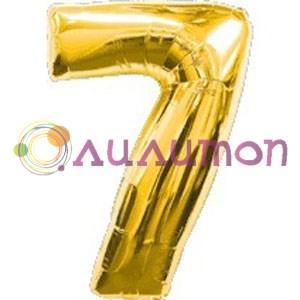 Фольгированный шар 'Цифра 7' золотая