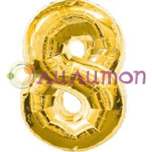 """Фольгированный шар """"Цифра 8"""" золотая - фото 4941"""