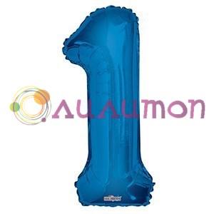 """Фольгированный шар """"цифра 1"""" голубая - фото 5081"""