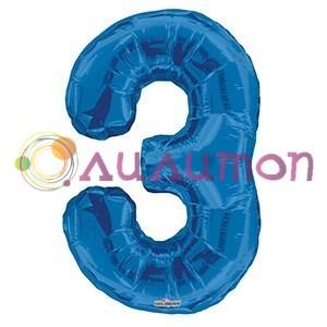 """Фольгированный шар """"цифра 3"""" голубая - фото 5085"""