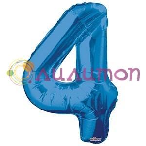 """Фольгированный шар """"цифра 4"""" голубая - фото 5087"""