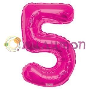 """Фольгированный шар """"цифра 5"""" розовая - фото 5088"""