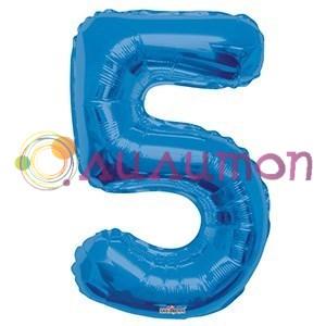 """Фольгированный шар """"цифра 5"""" голубая - фото 5089"""