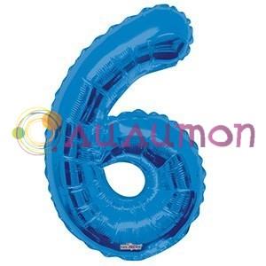 """Фольгированный шар """"цифра 6"""" голубая - фото 5091"""