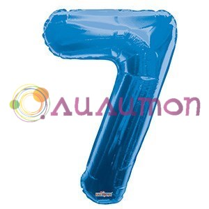 """Фольгированный шар """"цифра 7"""" голубая - фото 5093"""