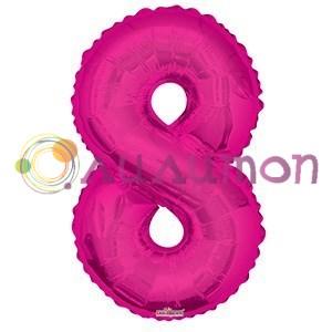 """Фольгированный шар """"цифра 8"""" розовая - фото 5094"""