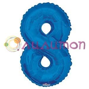 """Фольгированный шар """"цифра 8"""" голубая - фото 5095"""
