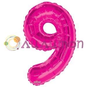 """Фольгированный шар """"цифра 9"""" розовая - фото 5096"""