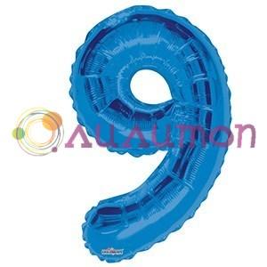 """Фольгированный шар """"цифра 9"""" голубая - фото 5097"""