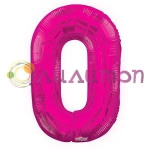"""Фольгированный шар """"цифра 0"""" розовая - фото 5098"""