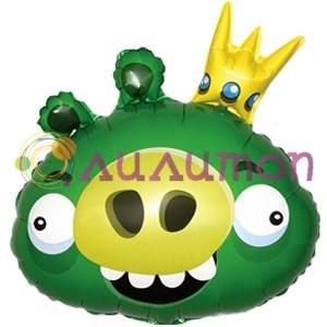 Фольгированный шар 'Ангри Бёрдс король свиней'