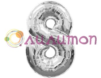 Фольгированный шар 'Цифра 8' серебряная
