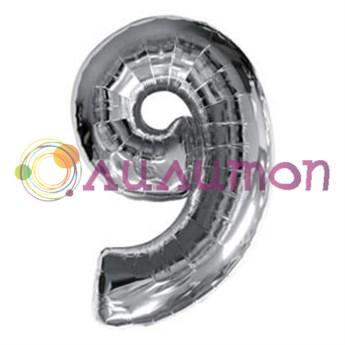 """Фольгированный шар """"Цифра 9"""" серебряная - фото 5223"""