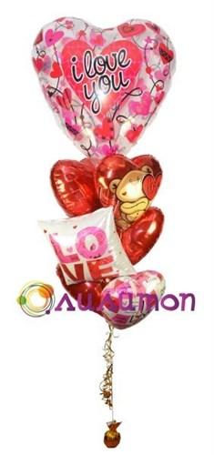 """Букет из воздушных шаров """"Влюблённые сердца"""" - фото 5407"""