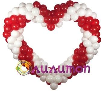 Сердце из шаров плетёное - фото 5424