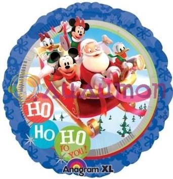 Фольгированный шар 'Санта и Микки с друзьями' 40 см