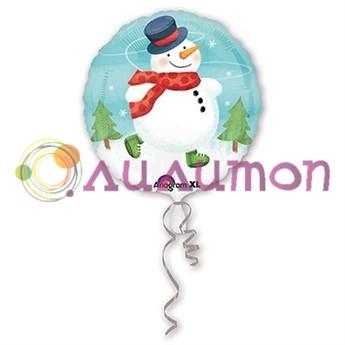 Фольгированный шар 'Снеговик с шарфом' 40 см